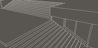Line sketch of street stairs on gray background Stock Photo