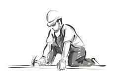 Vector line sketch worker Stock Photo