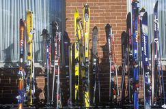 Line of skis at Jerome Hotel Royalty Free Stock Images