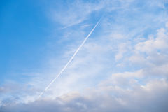 Line in the sky by airplane Stock Photos