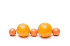 Line of small assortment balls Stock Photo