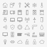 Line Smart Home Icons Big Set Stock Photo