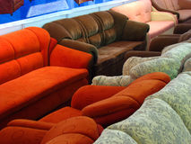 Line of Sofas. Sofas lined up in a furniture shop Stock Image
