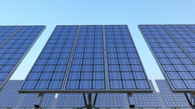 Line of solar panels against blue sky. Renewable energy production, CGI. Solar panels against blue sky. Renewable solar energy production Stock Photos