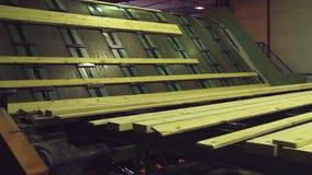 Line sort of boards woodworking stock video