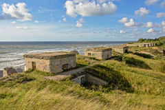 Line of bunkers  on the coast of the Baltic sea at Karosta Stock Photography