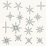 Line sparkling symbols black color Royalty Free Stock Photo
