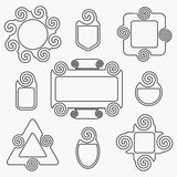 Line spiral shape tags design elements set Stock Image