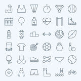 Line Sport and Fitness Icons Set Royalty Free Stock Photo