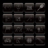 Line Sports gear and tools icons Royalty Free Stock Photo