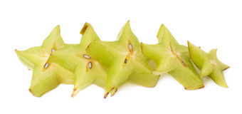 Line of starfruit slices isolated Stock Images