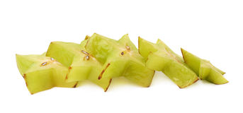 Line of starfruit slices isolated Stock Photo