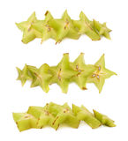 Line of starfruit slices isolated Royalty Free Stock Photos