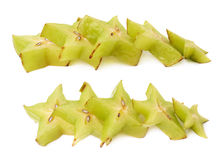 Line of starfruit slices isolated Stock Image