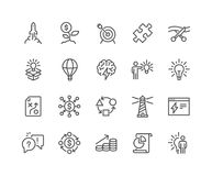 Line Startup Icons. Simple Set of Startup Related Vector Line Icons. Contains such Icons as Goal, Out of the Box Idea, Launch Project and more. Editable Stroke vector illustration