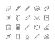 Line Stationery Icons stock illustration