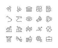 Line Stock Market Icons. Simple Set of Stock Market Related Vector Line Icons. Contains such Icons as Gainers, Loosers, Bear, Bull, IPO, Currency Exchange and Royalty Free Stock Images