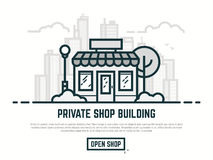 Line store illustration. Online store building. Big city with skyscrapers on background. Line outline vector illustration. Tree and bushes with street lamp and Royalty Free Stock Images