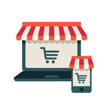 On line store. Laptop and smart phone with awning. On line store. Sale, Laptop and smart phone with awning Stock Image