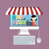 On line store. Monitor with seller Stock Photography