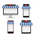 On line store. Sale, Gadget with awning set. Vector illustration Stock Photo