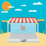 On line store. Sale, Laptop with awning Stock Images