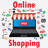 On line store. Sale, Laptop with awning. Royalty Free Stock Image