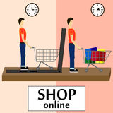 On line store. Sale, Laptop with awning, men buying stuff with laptop, shop at home Royalty Free Stock Image