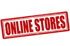 On line stores. Stamp with text on line stores inside,  illustration Royalty Free Stock Photo