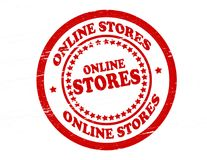 On line stores. Stamp with text on line stores inside,  illustration Royalty Free Stock Photos