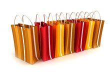 Line of striped shopping bags Royalty Free Stock Photo