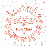 Line Style Christmas and New Year Greeting Banner Stock Images