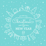 Line Style Christmas and New Year Greeting Banner Stock Photos