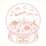Line Style Christmas and New Year Vector Snowball. Town Illustration With Greetings. Good for Posters, Cards and Backgrounds Stock Images