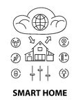 Line style design concept of smart house, network infrastructure of connecting everything Royalty Free Stock Images