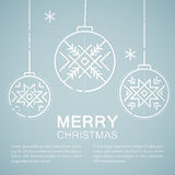 Line style emblem with stylized Christmas balls vector illustration