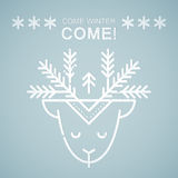 Line style emblem with stylized Christmas deer Royalty Free Stock Image