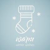 Line style emblem with stylized Christmas stoking stock illustration