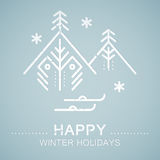 Line style emblem with stylized Christmas tree Stock Photos