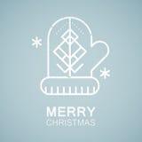 Line style emblem with stylized Christmas tree Royalty Free Stock Image