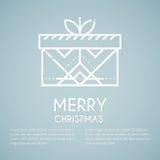 Line style emblem with stylized gift box Royalty Free Stock Image