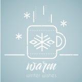Line style emblem with stylized hot tea mug stock illustration