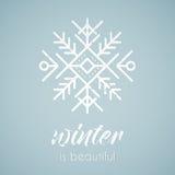 Line style emblem with stylized snowflake royalty free illustration