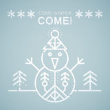 Line style emblem with stylized snowman Royalty Free Stock Images