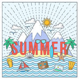 Line Style Flat Vector Color Summer Card or Illustration with Isle, Ocean, Mountains, Palmtrees, Shell, Yacht and Travel Stock Photography
