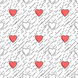 Line style heart shapes seamless pattern Royalty Free Stock Images