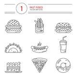 Line style icons set of beauty. Modern line style vector icons set of fast food, junk food. Tacos, cheeseburger, hamburger, soda, hotdog, donut, french fries Royalty Free Stock Photo