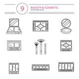 Line style icons set of beauty. Vector modern line style icons set of beauty, makeup and cosmetics products. Different types of shadow pallette, compact powder Royalty Free Stock Photos