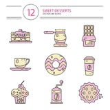 Line style icons set of desserts. Vector modern line style icons set of coffee and sweets products. Dessert icons set. Cup, coffee grinder, coffee maker, donut Royalty Free Stock Photography
