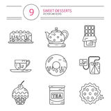 Line style icons set of desserts. Vector modern line style color icons set of tea party and sweets products. Dessert icons set. Cup, teapot, tea can, tea bag Royalty Free Stock Photography